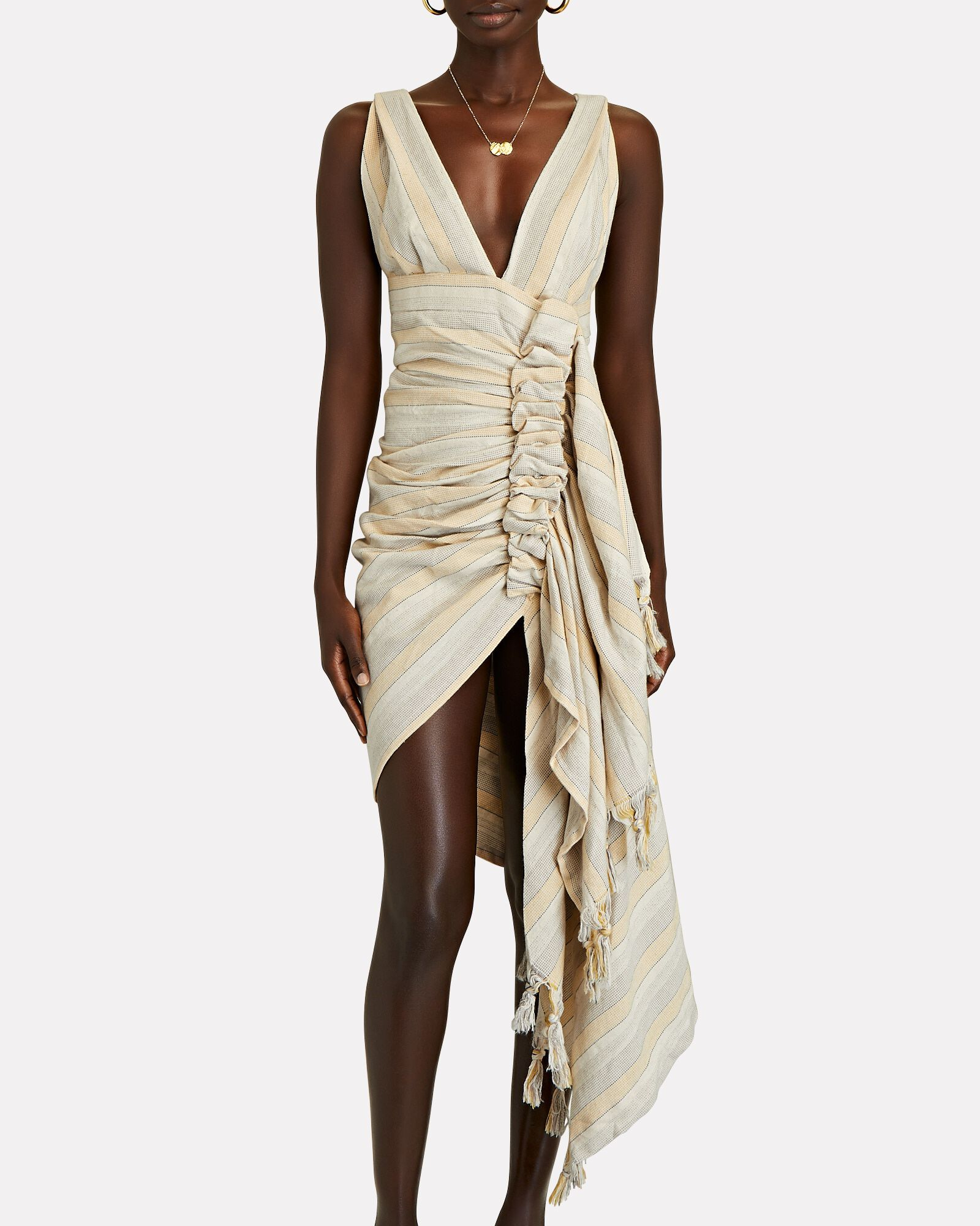 Tulum Ruched High-Low Dress, GREY/BEIGE, hi-res