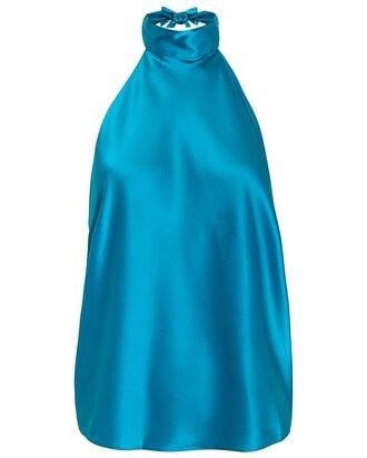 Manik Silk Halter Top, BLUE-LT, hi-res
