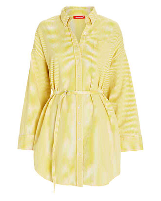 Belted Striped Poplin Shirt Dress, YELLOW/WHITE, hi-res