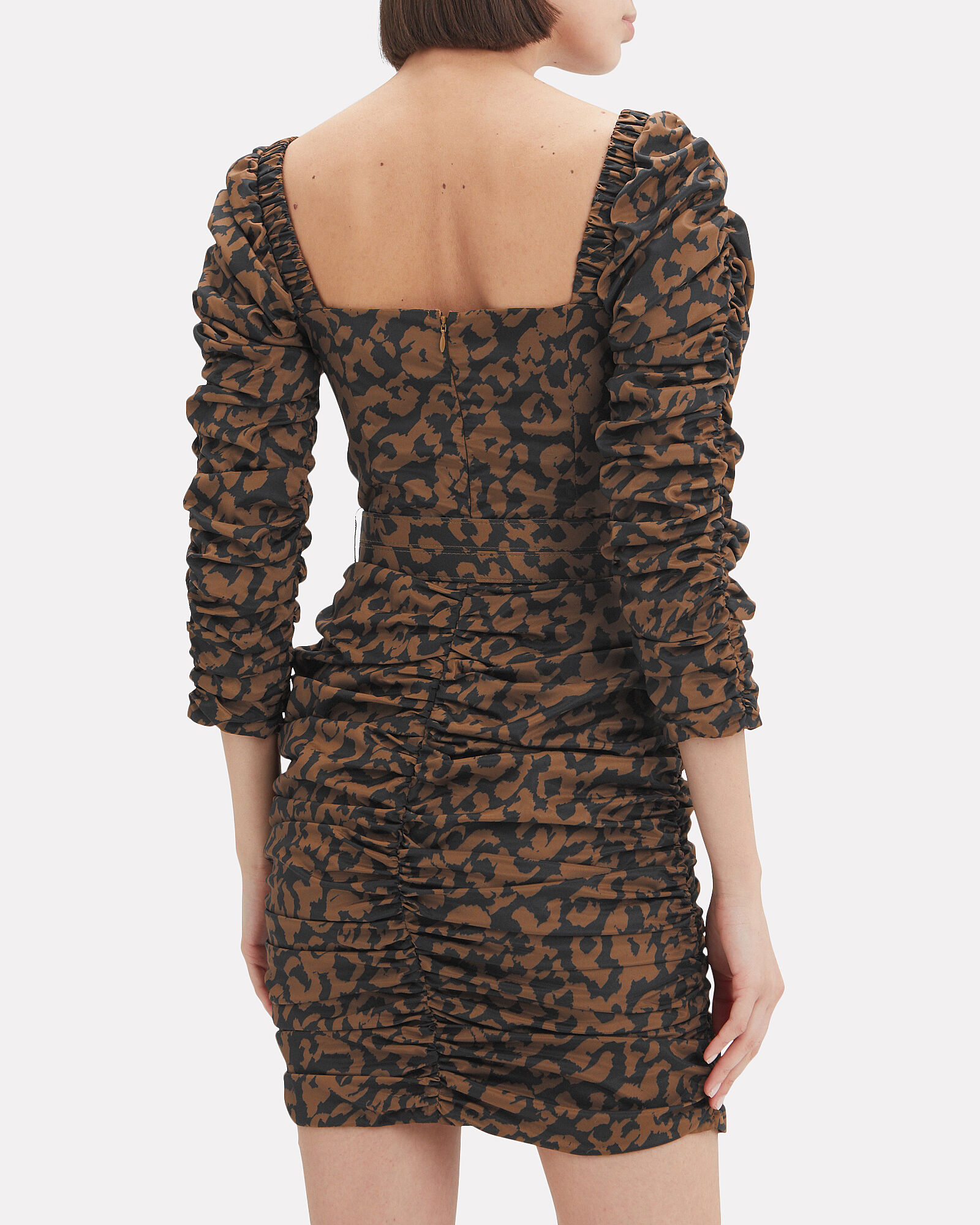 Ruched Leopard Mini Dress, MULTI, hi-res