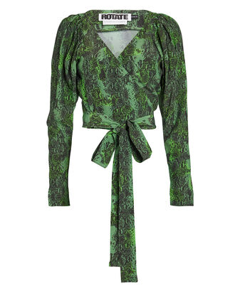 Nancy Snake-Printed Wrap Top, GREEN/SNAKE, hi-res