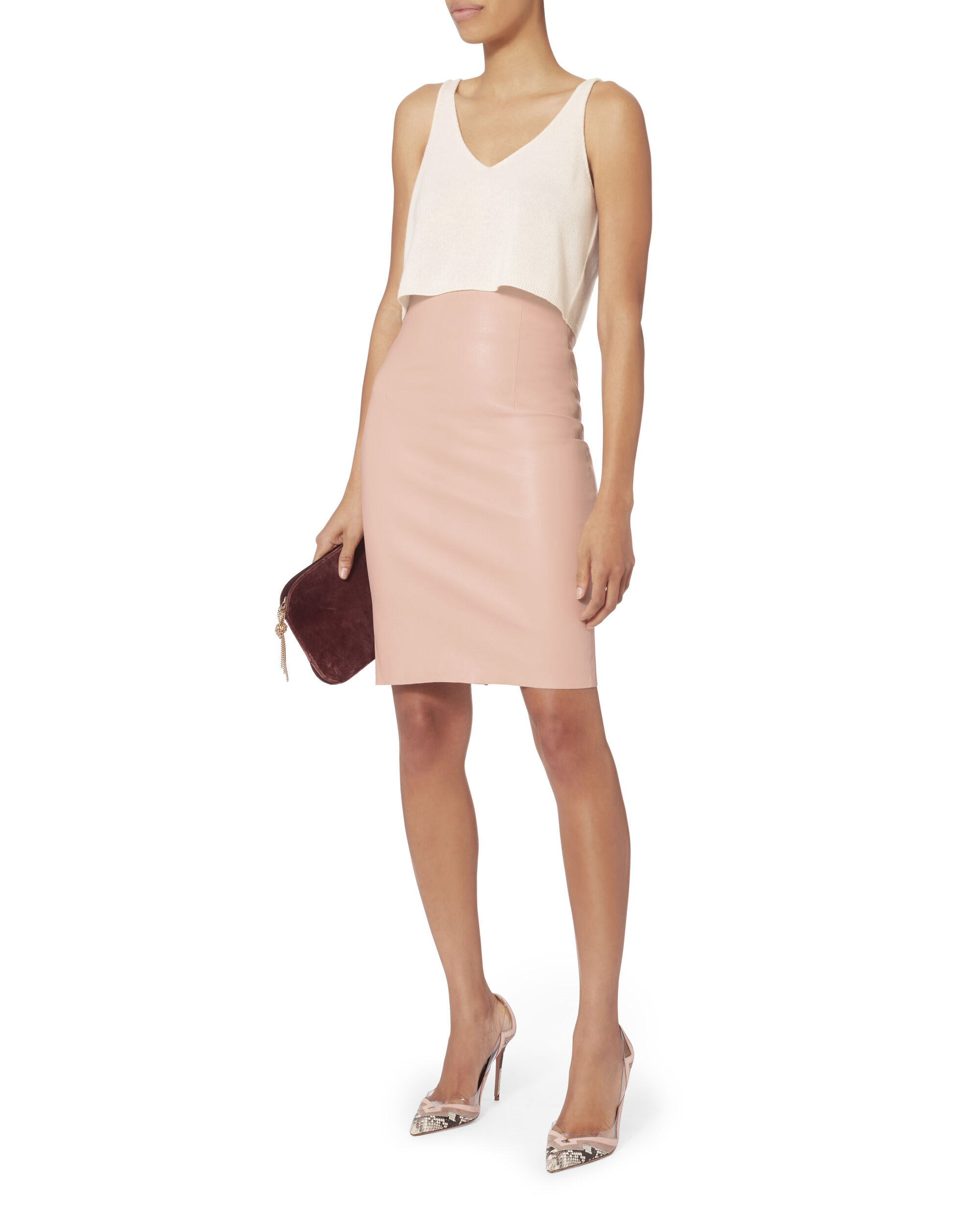 Kendall Cropped Cashmere Ivory Tank Top, IVORY, hi-res