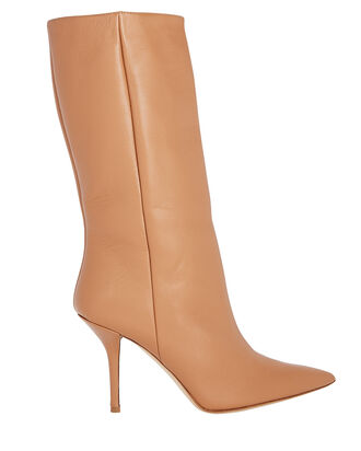 Pointed Toe Leather Boots, BROWN, hi-res