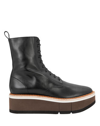 Berenice Platform Leather Ankle Boots, BLACK, hi-res