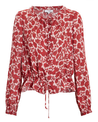 Georgiana Printed Top, RED, hi-res
