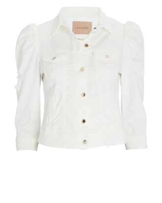 Ada Cropped Denim Jacket, WHITE, hi-res