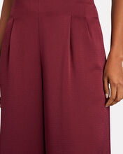 Pleated Satin Wide-Leg Pants, BURGUNDY, hi-res