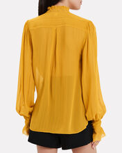 Silk Georgette Ruffled Blouse, MUSTARD, hi-res