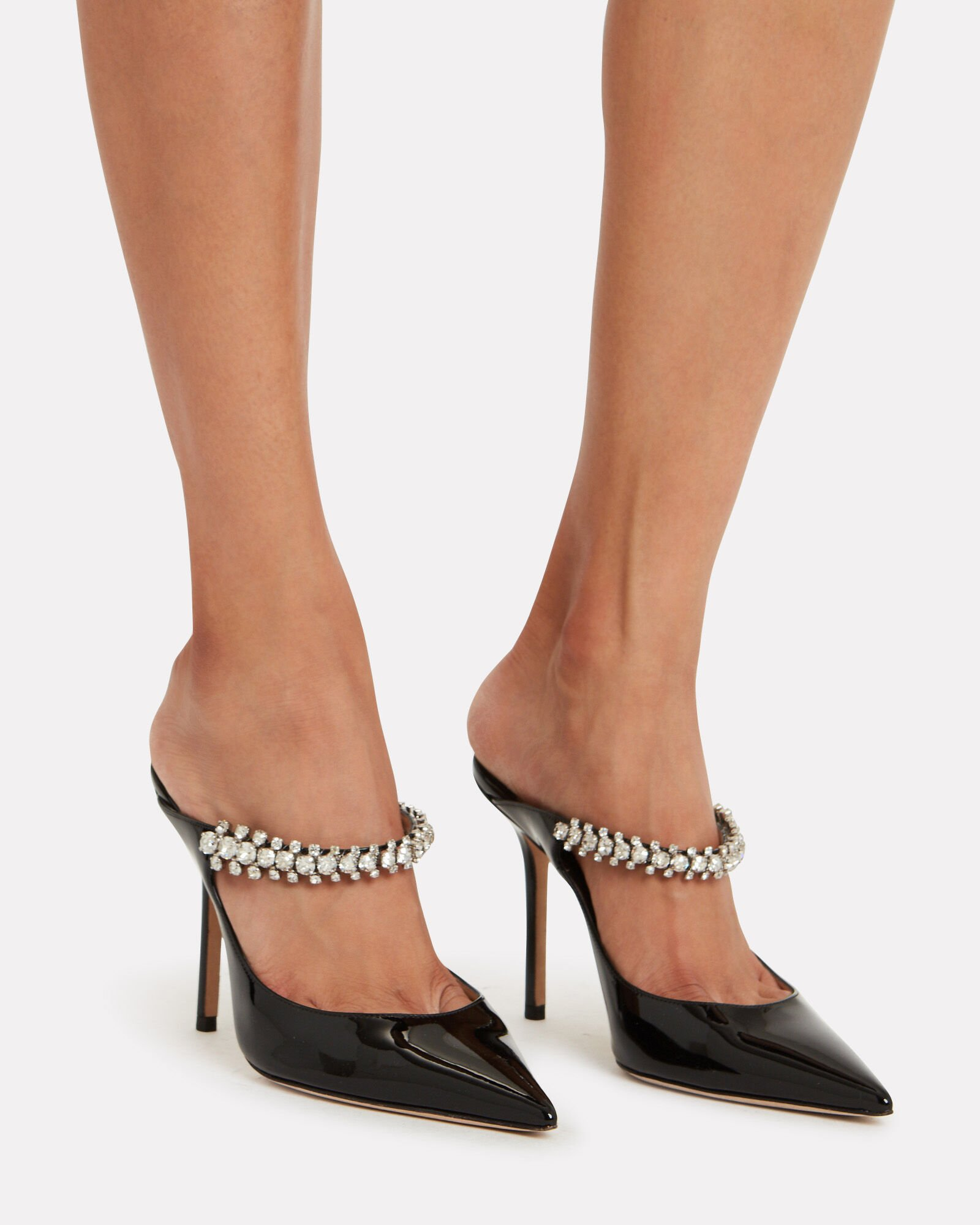 Bing Patent Crystal-Embellished Mules, BLACK, hi-res