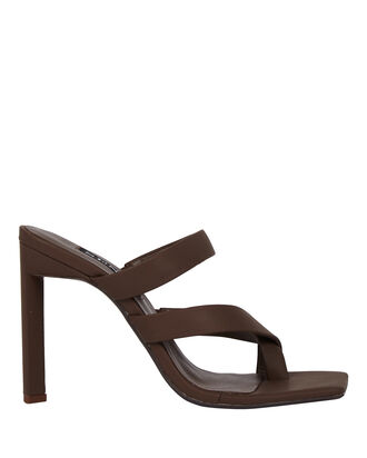 Sylvie Leather Slide Sandals, BROWN, hi-res