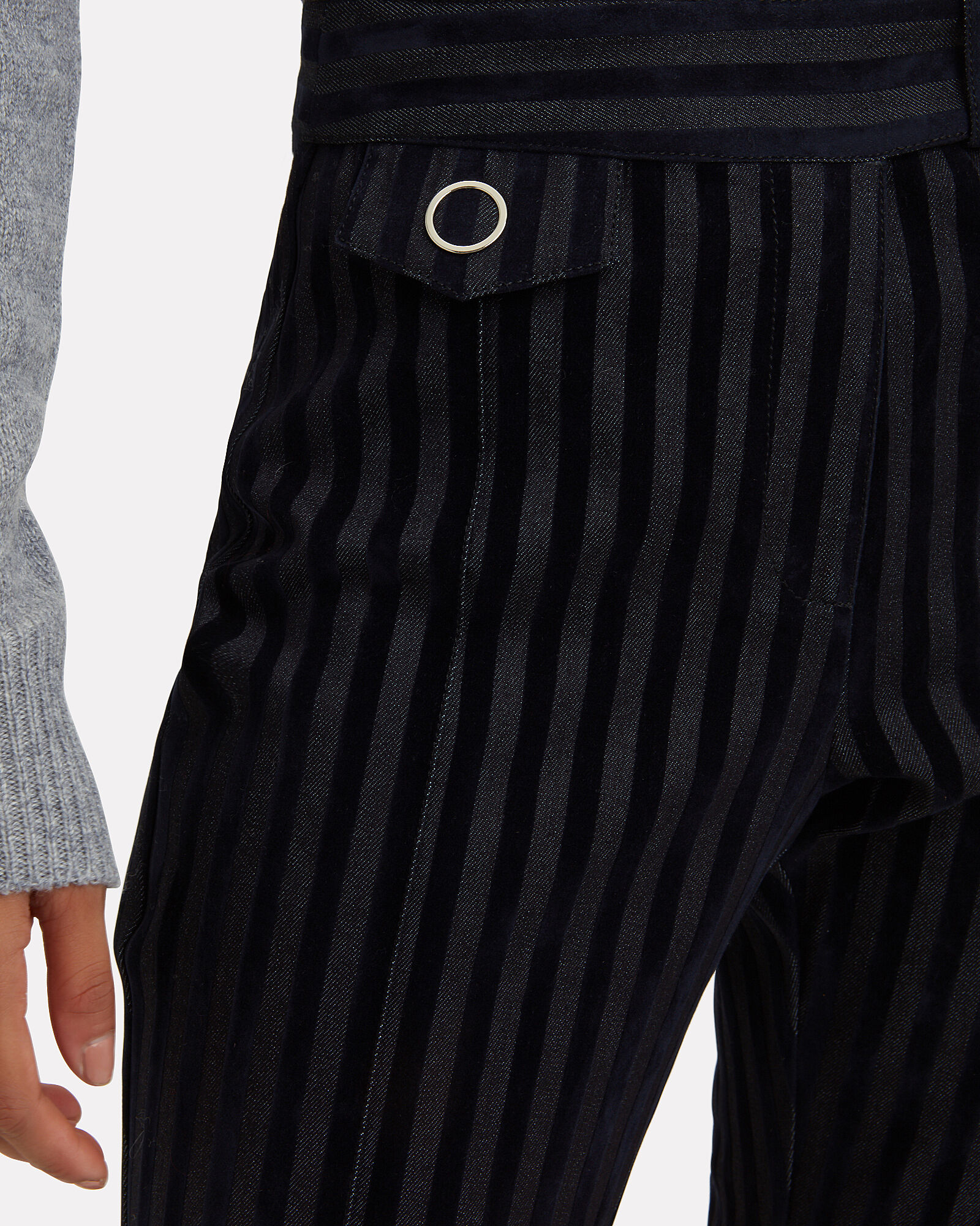 Striped Crop Flare Trousers, NAVY, hi-res