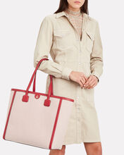 Antibes Leather-Trimmed Canvas Tote, RED, hi-res