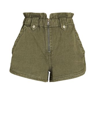Layla Zip Front Denim Shorts, OLIVE/ARMY, hi-res