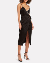 Crystal Strap Satin Wrap Dress, BLACK, hi-res