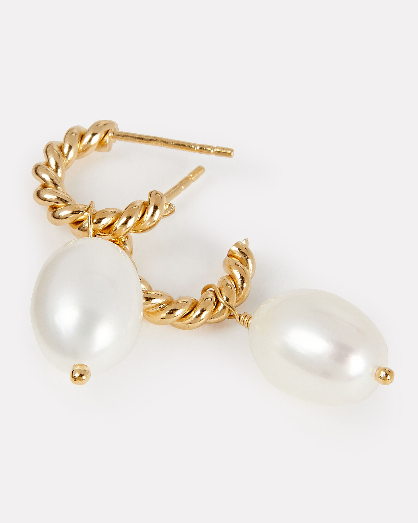 Small Twisted Pearl Hoops, GOLD, hi-res