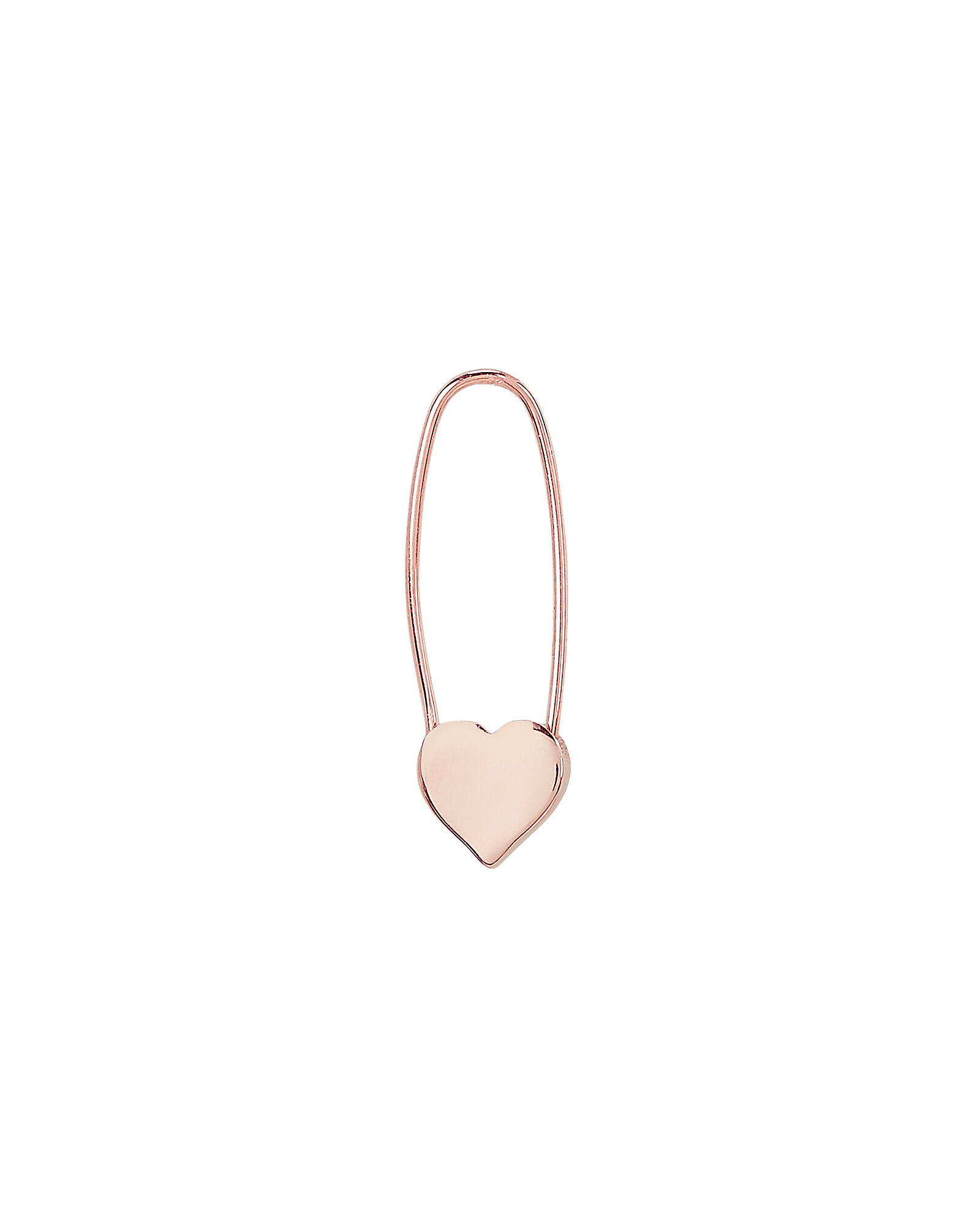 Heart Safety Pin Single Earring, ROSE, hi-res