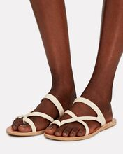 Theoni Leather Sandals, WHITE, hi-res