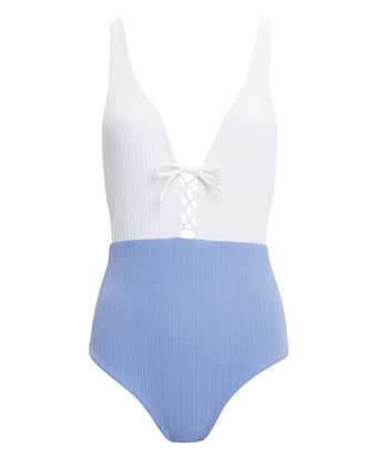 Iona Lace-Up One Piece Swimsuit, BLUE, hi-res