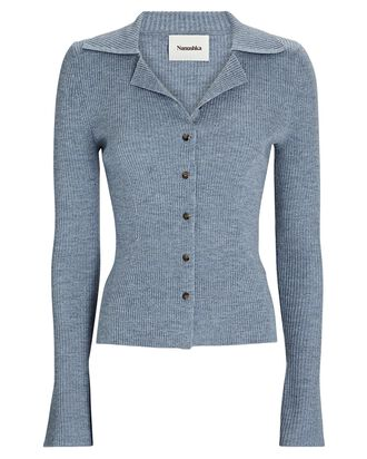 Sid Rib Knit Polo Cardigan, BLUE, hi-res