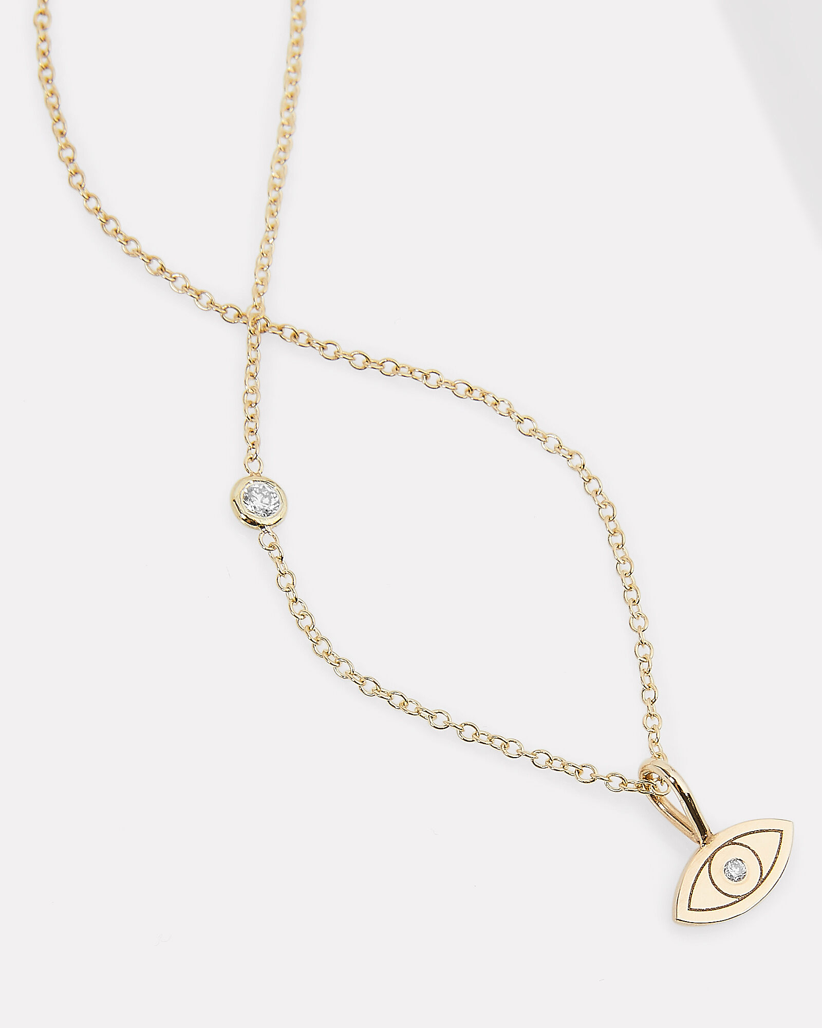 Midi Bitty Evil Eye Floating Diamond Necklace, GOLD, hi-res