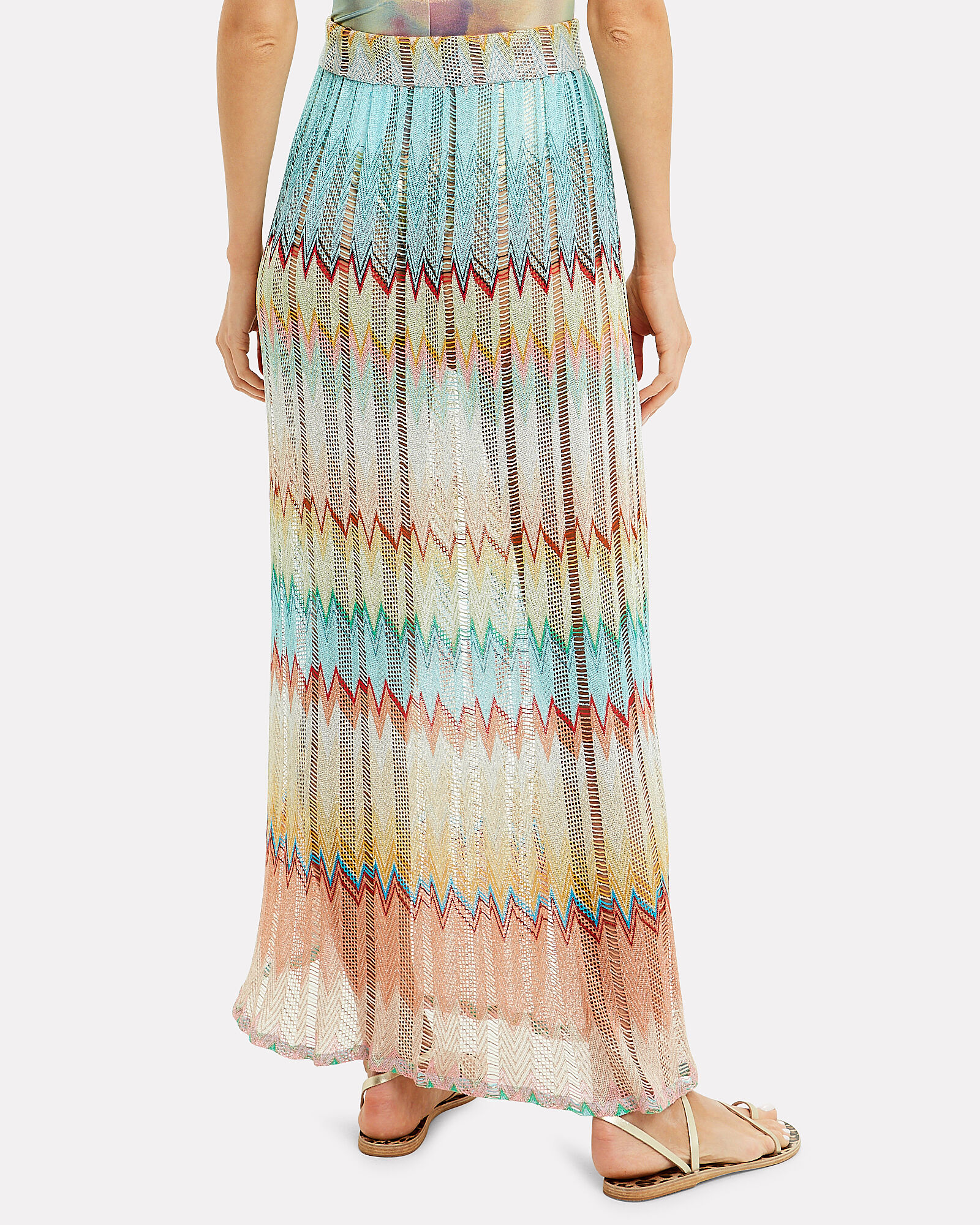 Open Knit Maxi Skirt, turquoise/yellow/beige/coral, hi-res