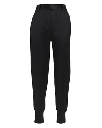 Satin Jogger Pants, BLACK, hi-res