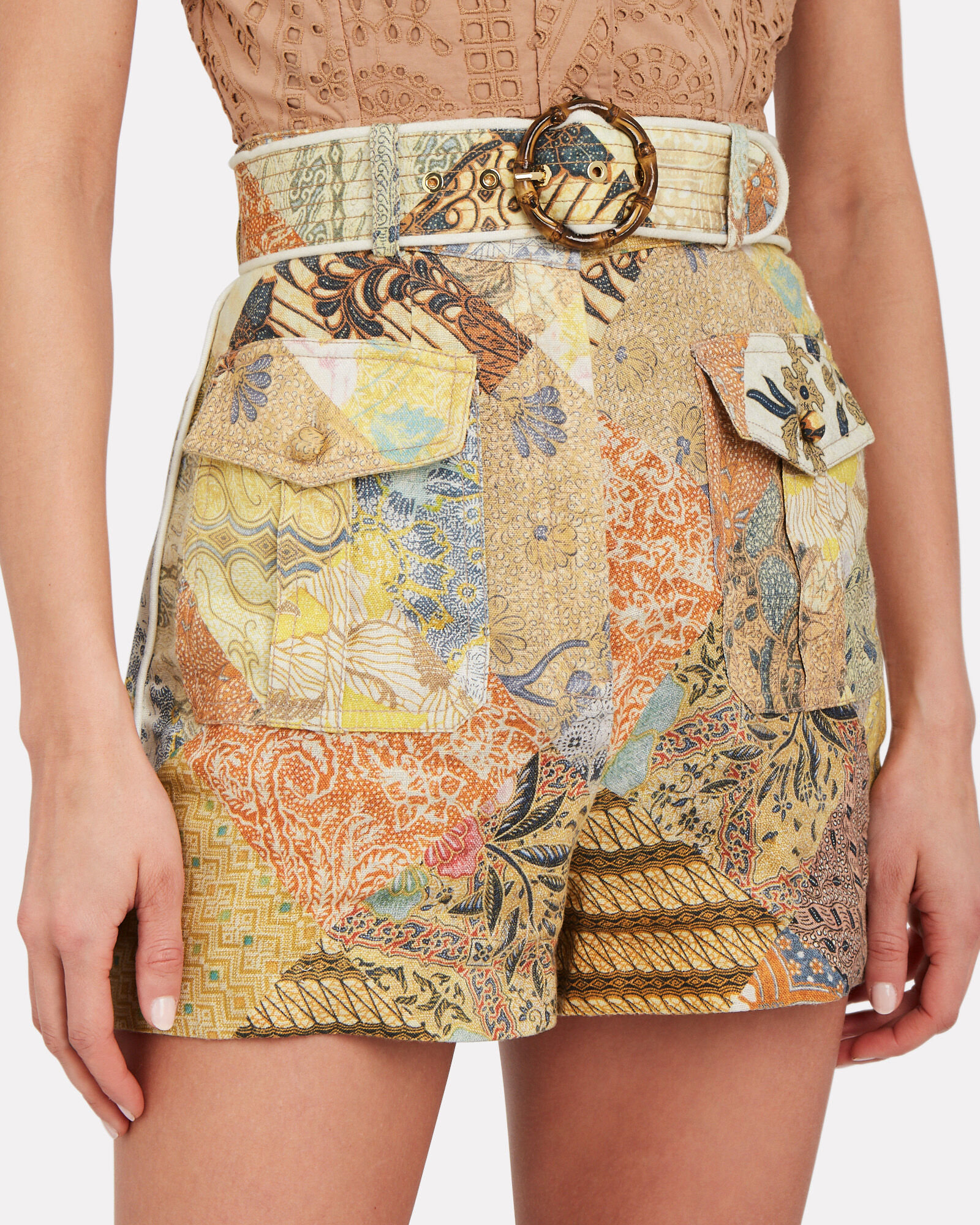 Wavelength Piped Floral Shorts, MULTI, hi-res