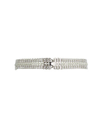Crystal-Beaded Waist Belt, SILVER, hi-res