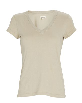 Becca V-Neck Cotton T-Shirt, BEIGE, hi-res