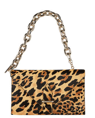 Folded Leopard Calf Hair Clutch, MULTI, hi-res