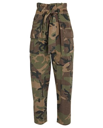 Bryn Cropped Paperbag Cargo Pants, ARMY, hi-res