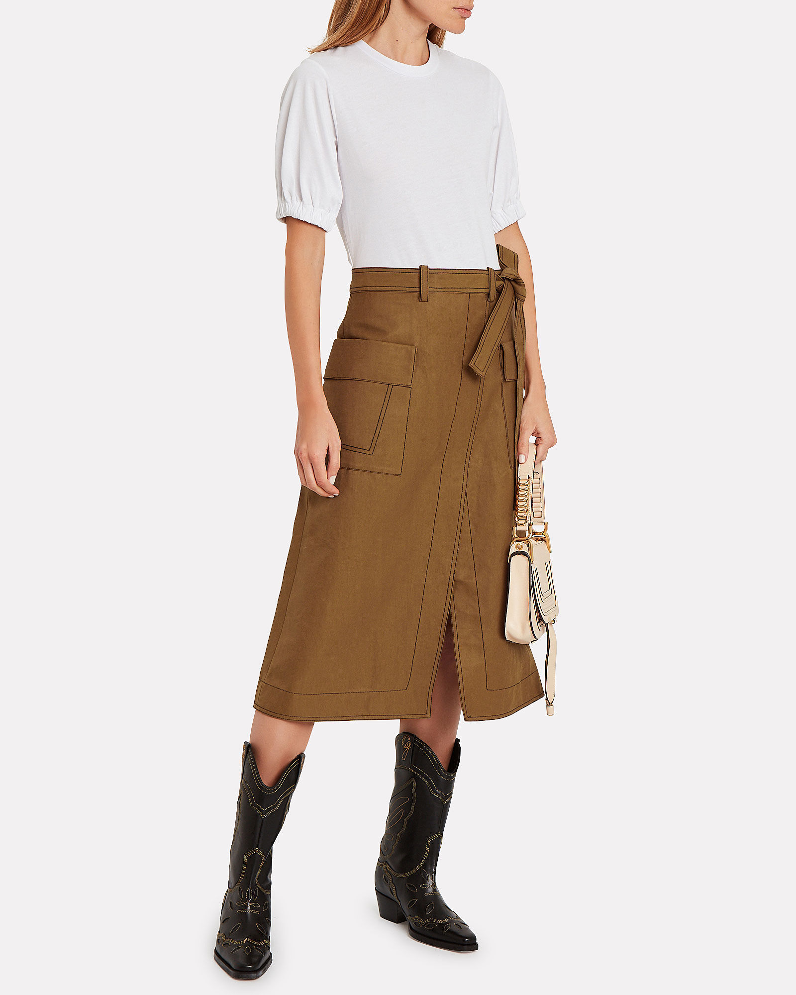 Topstitch Skirt T-Shirt Dress, WHITE/CAMEL, hi-res