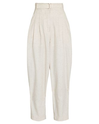 Hanbury Belted High-Rise Trousers, IVORY, hi-res