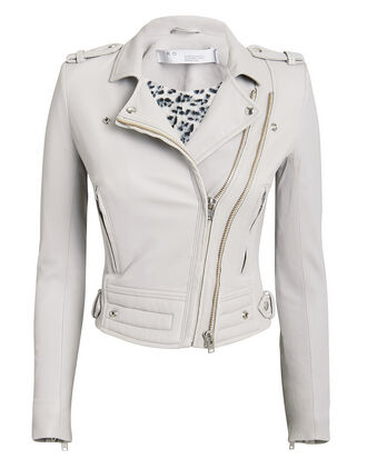 Luiga Leopard Lining Light Grey Leather Jacket, GREY, hi-res