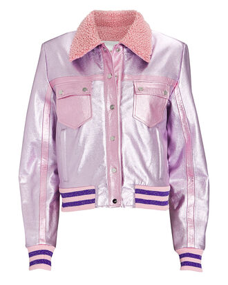 The Early Leather Trucker Jacket, METALLIC PINK, hi-res