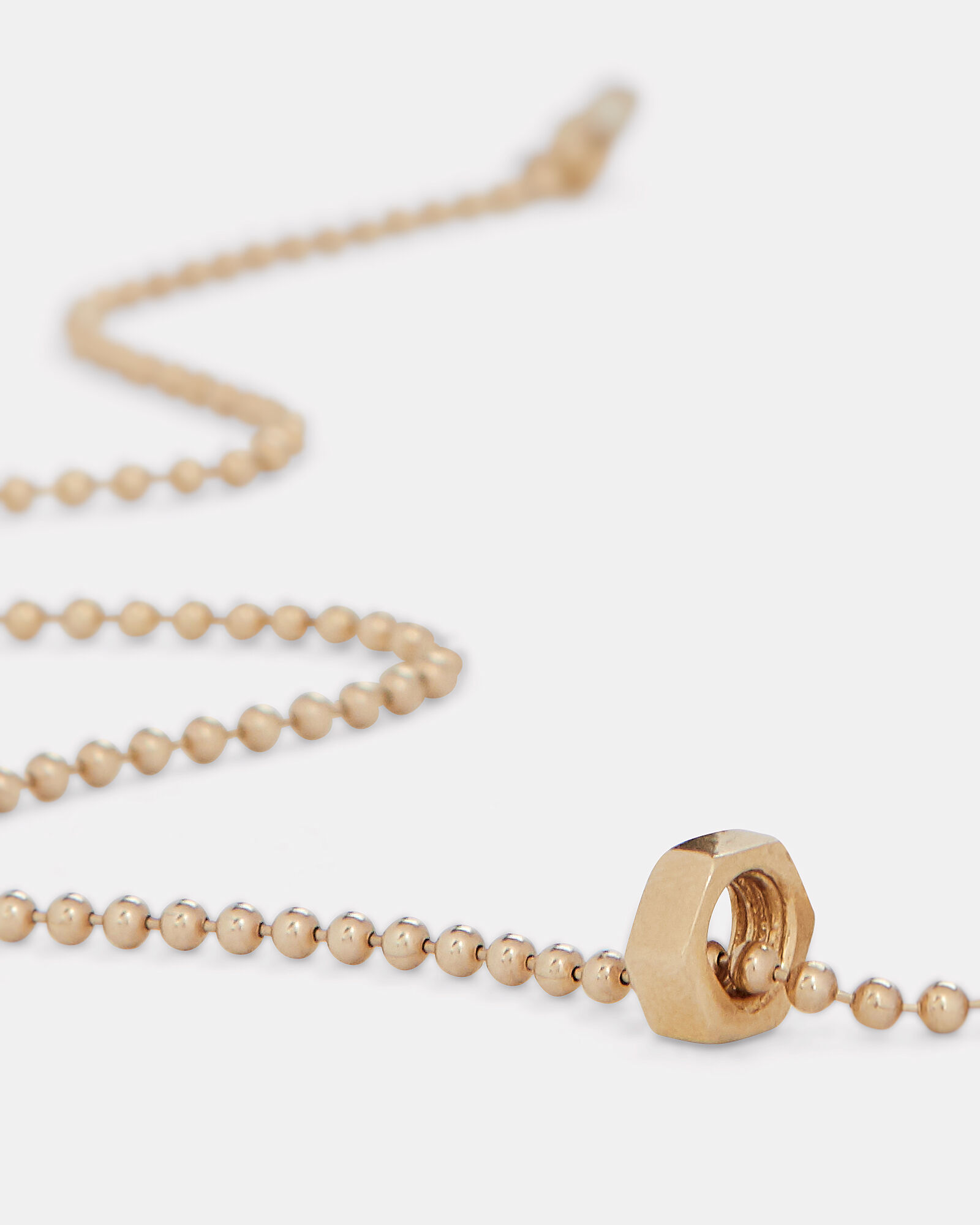 Hex Nut Ball Chain Necklace, GOLD, hi-res