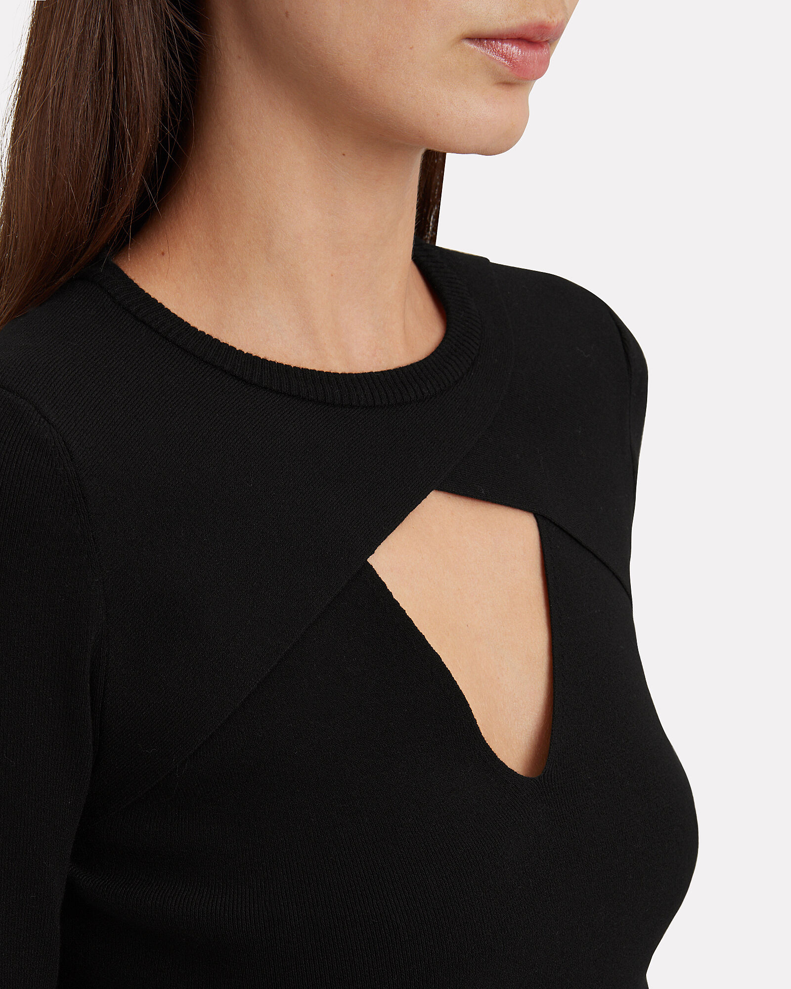 Curtis Long Sleeve Cut-Out Top, BLACK, hi-res
