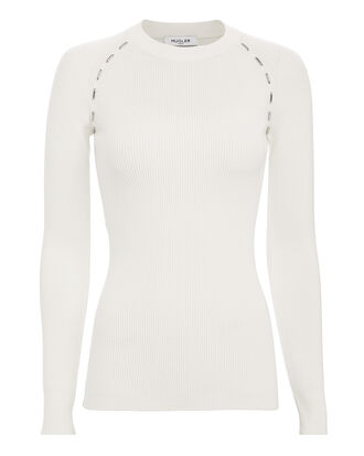Metal Detail Ribbed Knit Top, WHITE, hi-res