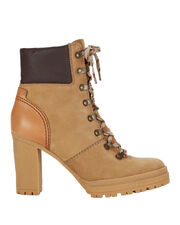 Claudia Lace-Up Hiker Booties, BEIGE, hi-res