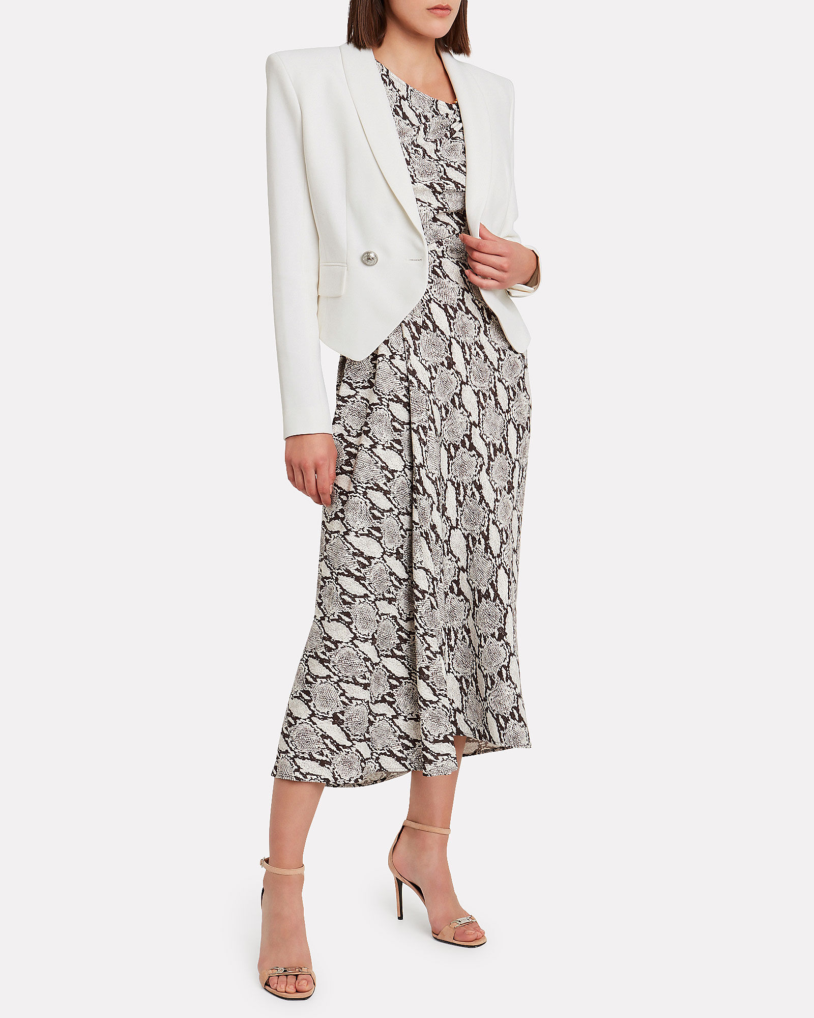 Crepe Double Breasted Cropped Blazer, WHITE, hi-res