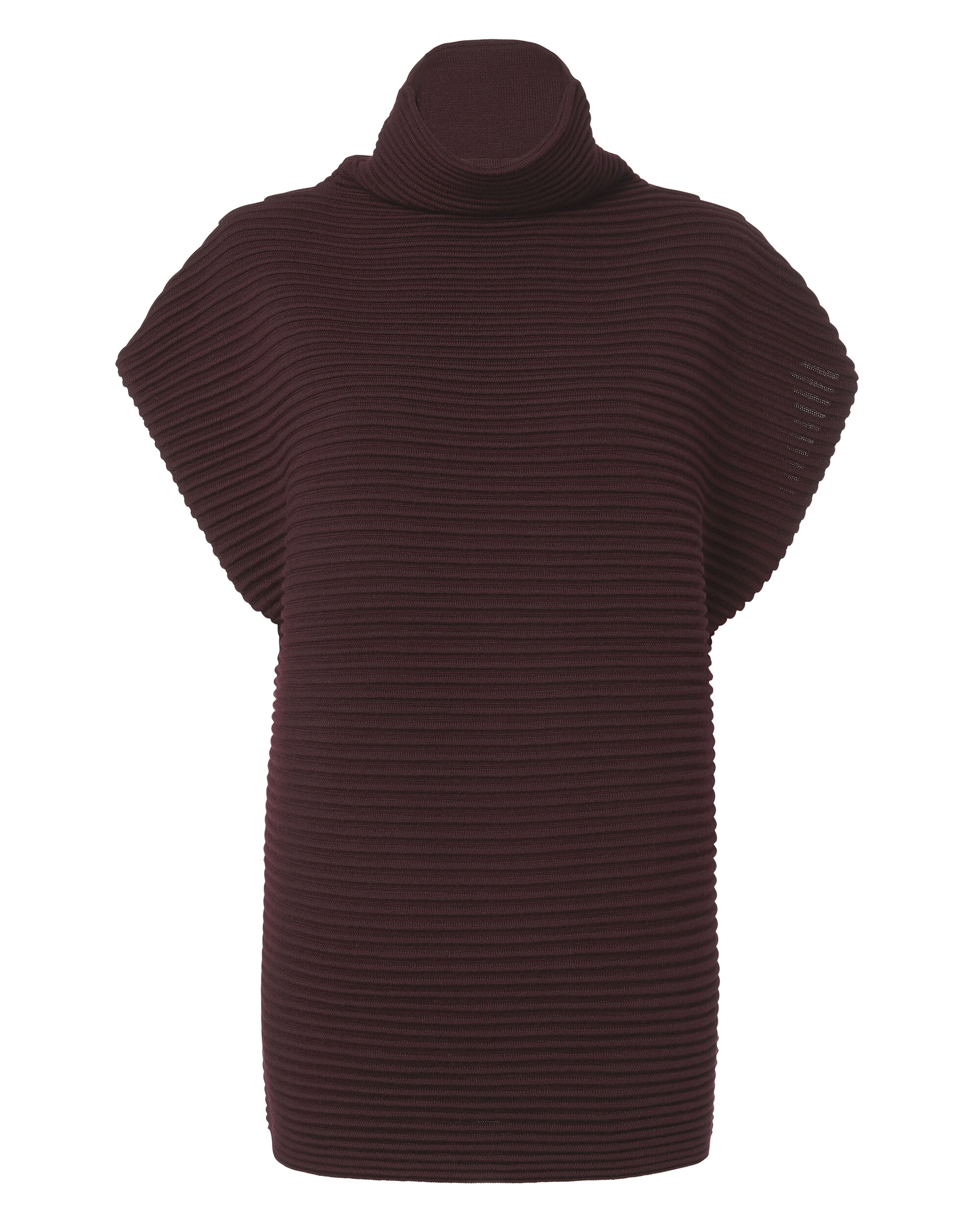 Funnel Neck Cap Sleeve Sweater, RED-DRK 2, hi-res