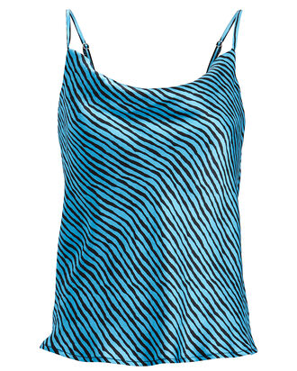 Clover Striped Silk Camisole, BLACK/BLUE, hi-res