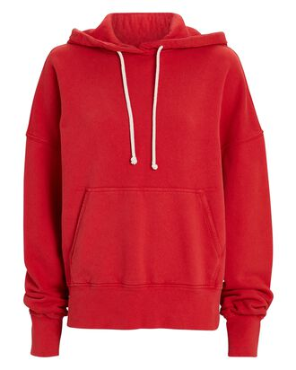 Classic Hooded Cotton Sweatshirt, RED, hi-res