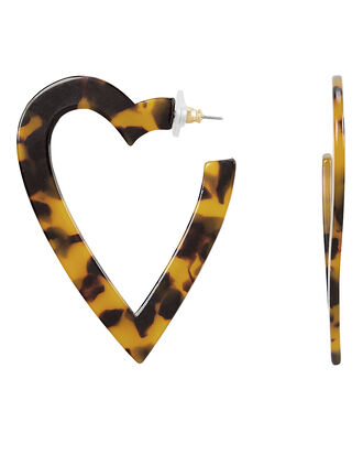 Resin Heart Hoops, BROWN, hi-res