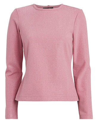 Maya Lurex Crewneck T-Shirt, ROSE, hi-res