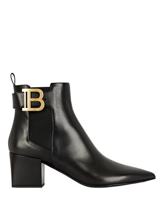 Salome Logo Leather Ankle Boots, BLACK, hi-res