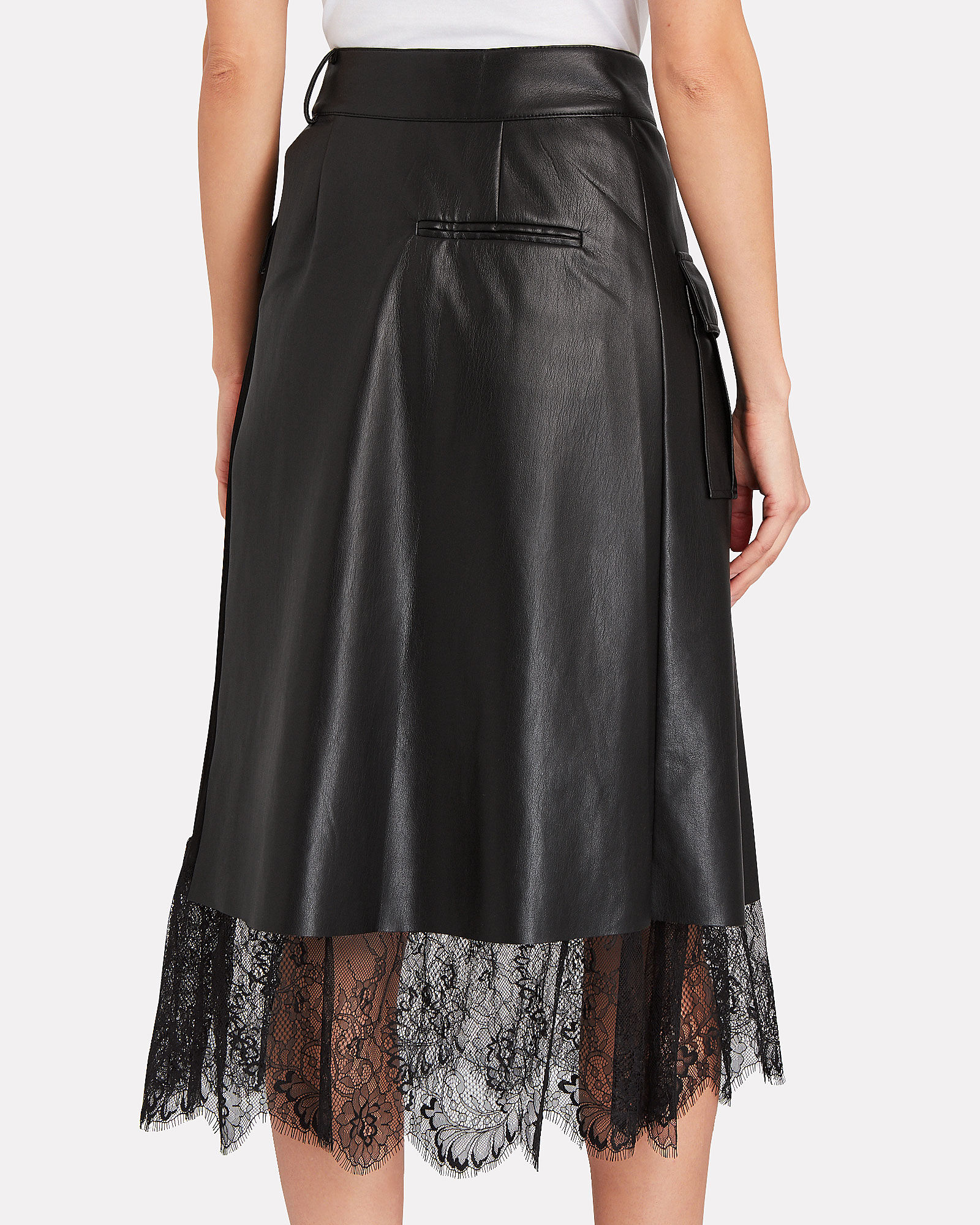 Faux Leather Pleated Wrap Skirt, BLACK, hi-res