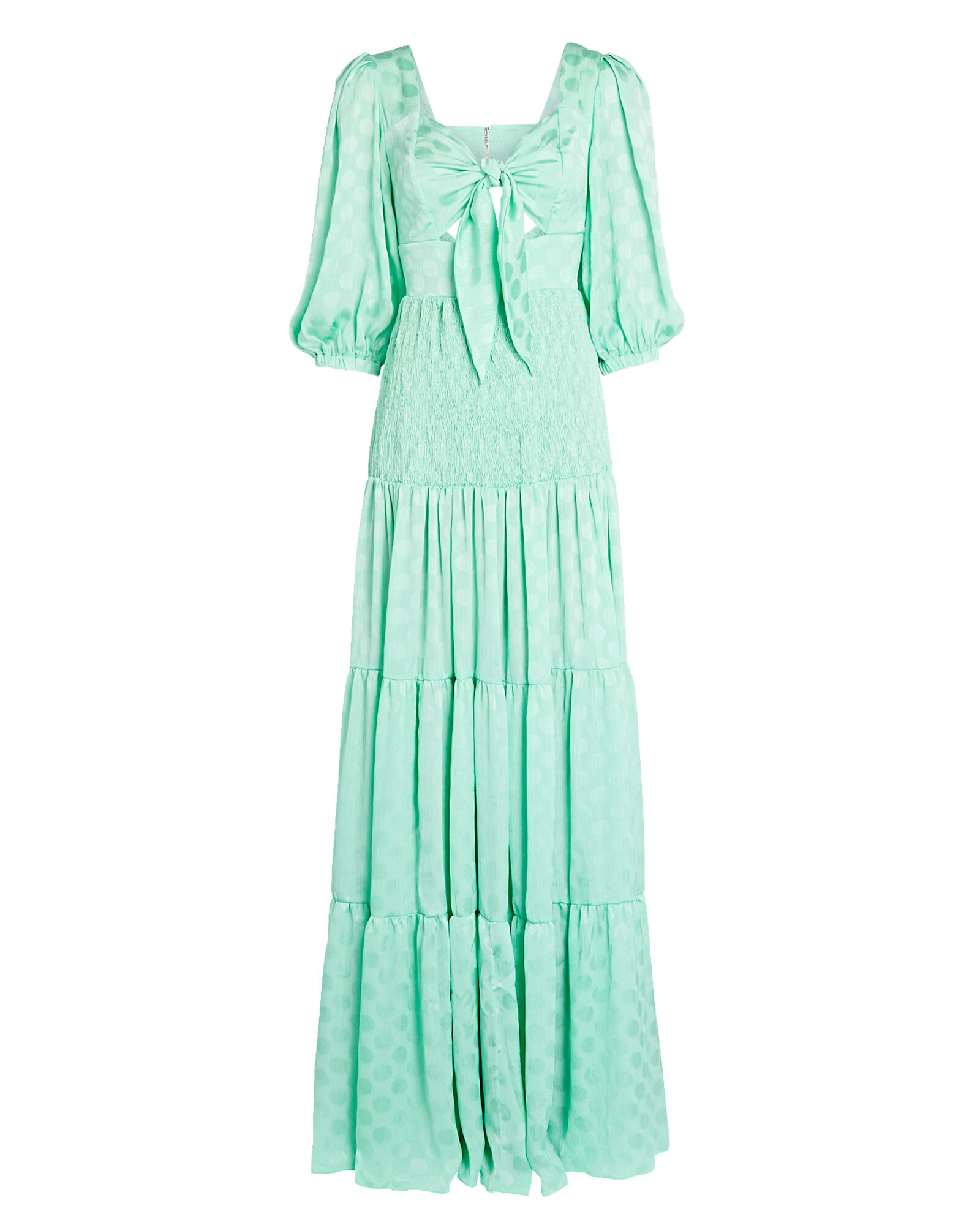 Crepe Tie-Front Maxi Dress, LIGHT GREEN, hi-res
