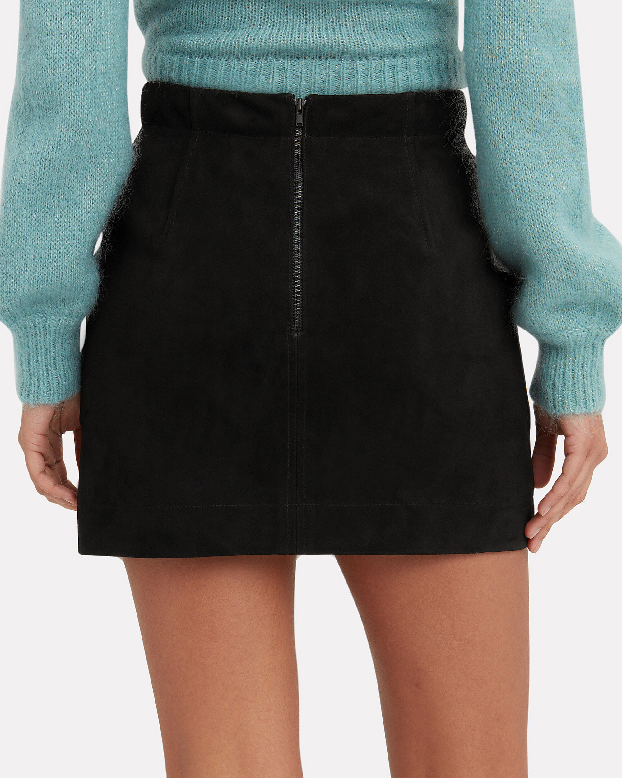 Ainsley Suede Mini Skirt, BLACK, hi-res