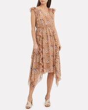 Ciel Midi Dress, BEIGE/WHITE FLORAL, hi-res